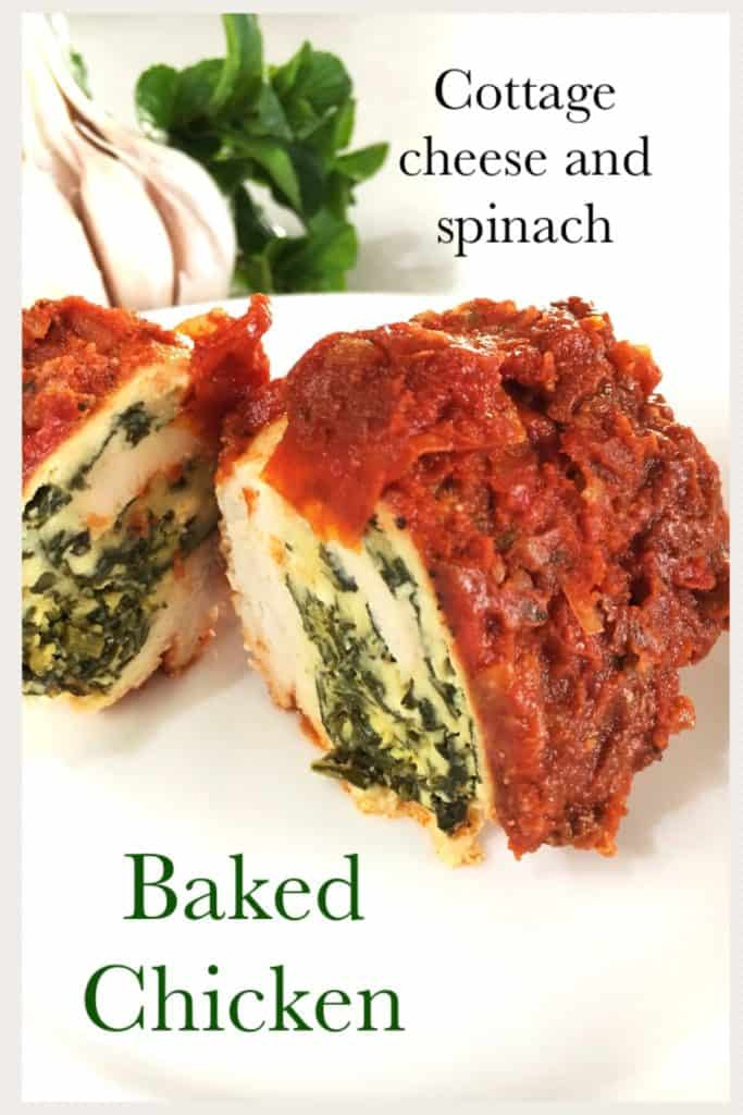 Cottage cheese and spinach baked chicken