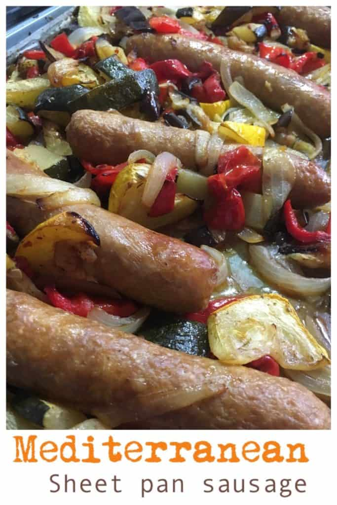Sheet pan sausages.